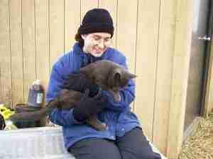 Lisa with Diggy outside barn