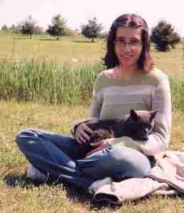 Lisa with Diggy on lawn